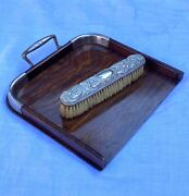 Vintage Antique Wooden Table Top Crumb Tray Pan And Silver Brush Dustpan