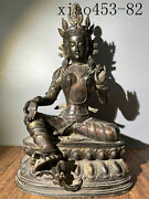Old Collection Ancient Chinese Pure Copper Sprinkle Cinnabar Buddha Statue One