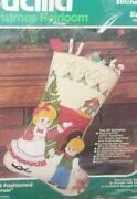 Rare Bucilla An Old Fashioned Christmas Jeweled Stocking Kit Nos 18' Long