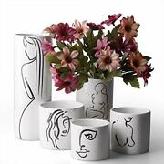 Modern Abstract Ceramic Vases Black And White Decorative Face And Body Bud
