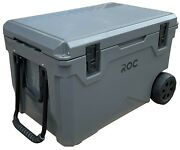 Roc 75qt Gray/charcoal Rotomolded Ice Chest Cooler Recessed Easy Latch Wheels
