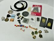 Military Lot Ribbons, Medals, Insignia, Challenge Coin, Buckle 34+ Pieces