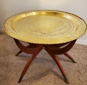 Vintage Solid Brass Table Hammered Asian Chinese On Foldable Wood Stand