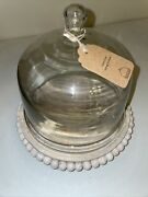 Glass Cloche Dome Wood Beads Base With Distressed White Wash Farmhouse Decor