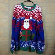 Jolly Sweaters Size Xl Red Sweater Christmas Ugly Embroidered Santa Sunglasses