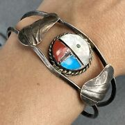 Old Pawn Sterling Silver Blue Turquoise Coral Mop Wings Zuni Bangle Bracelet
