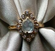 Beautiful Rare Antique Victorian 14k Diamond Carved Moonstone Man In Moon Ring