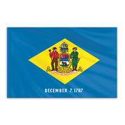 Global Flags Unlimited 200178f Delaware Indoor Nylon Flag 5'x8' With Gold Fringe