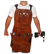 Leather Work Apron With Tool Pockets For Men Women   36 X 24   Welding Apron