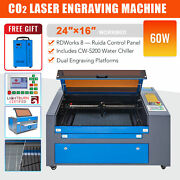 60w 16x24 In. Co2 Laser Engraver Cutter Engraving Machine W. 5200 Water Chiller