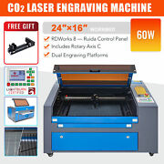 60w 16x24 In. Bed Co2 Laser Engraver Cutter Engraving Machine With Rotary Axis C
