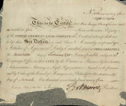 Robert Morris - Stock Certificate Signed 03/16/1795 Co-signed By James Marshall