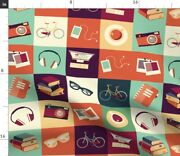 Hipster Bicycle Camera Glasses Modern Photos Spoonflower Fabric By The Yard