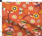 Sewing Bees Vintage Yellow Flowers Red Floral Spoonflower Fabric By The Yard