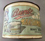Bunte Brothers Marshmallow Large Round Candy Tin Antique Advertising Chicago