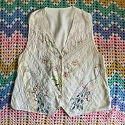 Vintage 90s Embroidered Peacock Crochet Lace Shabby Chic Cottagecore Vest 2xl