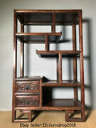 32 Old Chinese Dynasty Huanghuali Wood Carved 2 Drawer Stand Shelf Furniture