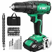 Imo Cordless Drill 20v Max Power Drill Driver Set W/liion Battery And Charger 3/