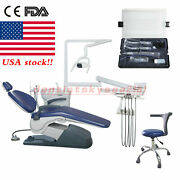 Fda Dental Chair Dc Motor Unit Hard Leather + High Low Speed Handpiece Or Usa