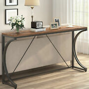 Industrial Narrow Console Table Tv Stand With Metal Frame Hallway Pub Bar Table