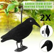 2x Garden Flocked Hard Plastic Black Crow Decoy For Hunting Shooting Stand Us