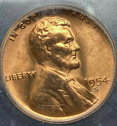 Wow 1954-s Lincoln Wheat Penny- Ms67 Red++++++++++++ Graded And Slabbed