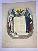 France Constitution Of Louis Philippe 1830 Very Large Antique Print C. 1840