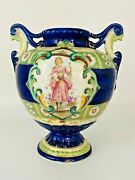 Nippon Beaded Vase W/handles Gilded Footed Girl And Pink Roses Pre 1891 Japan