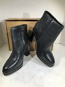 Coach Justina Women's Size 8.5 Black Leather Heeled Ankle Boots X7-1713
