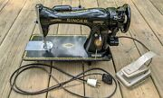 Vintage 1951 Singer Sewing Machine Model 15-91 W/ Lamp And Mercury Foot Pedal