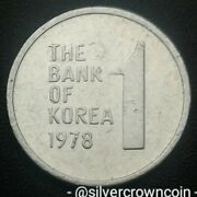 Korea South 1 Won 1978. Km4a. One Dollar Coin. Rose Of Sharon. 1968-1982 Issued
