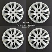 New Wheel Covers Hubcaps Fits 2005-2010 Chevrolet Cobalt 15 Silver Set Of 4