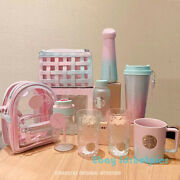 2021 Starbucks Gradient Pink Green Straw Cup Jelly Bag Ss Accompanying Cup New