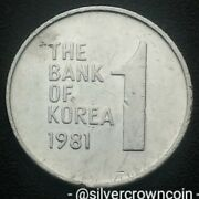 Korea South 1 Won 1981. Km4a. One Dollar Coin. Rose Of Sharon. 1968-1982 Issued