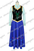 Frozen Cosplay The Snow Queen Anna Princess Costume Daily Dress Fast Shipping