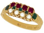 Victorian Pearl 0.13ct Emerald 0.20ct Amethyst And 15carat Yellow Gold Ring