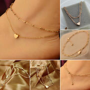 Gold Tone Heart Ankle Bracelet Double Layer Chain Sexy Foot Anklet S1