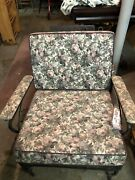 Vintage Mid Century Modern Wrought Iron Metal Patio Lounge Chairs And Ottoman