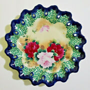Antique Nippon Hand Painted Roses Cobalt Blue Plate -scalloped And Pierced 11.5