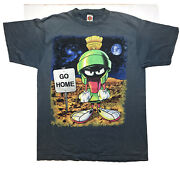 Vintage 90s Marvin The Martian Loony Tunes Shirt Size Xl Go Home Mens Gray