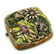 Jay Strongwater Double Mirror Compact W/ Crystal Enamel Frogs