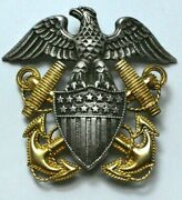 Wwii Sterling Silver/+1/20 10k Gold Navy Officer Hat Badge Pin By Viking