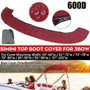 600d Bimini Top Boot Cover Storage Bag Sock Boat Shade No Frame Red For 3bow