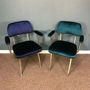 1960s Pair Of Shelby Williams Gazelle Armchairs Royal Blue And Turquoise Velvet