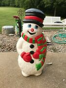 Vintage Blow Mold Grand Venture Dimpled Snowman Scarf Christmas