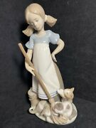 Lladro 5232 Playful Kittens Porcelain Figurine Girl, Cats, Broom, Collectible
