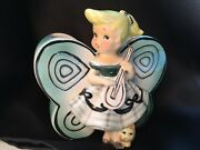 Vintage Fairy Pixie Planter 1940 1950 Wings Kitty Music Green Blue