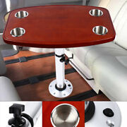 Boat Table Removable Rectangular Marine/rv Table With 4 Cup Holdersandpedestal Bas