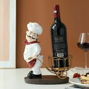 Wine Bottle Holder Decor Chef Figure Rack With Stand For Gifts Tabletop Kitchen