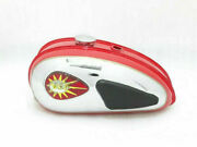 Bsa C15 Red Painted Chrome Gas Fuel Petrol Tank With Cap Knee Pad Tap